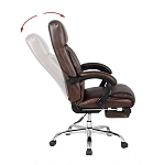 Reclining Office Chair, Brown High Back Leather Chair, Bonded leather with Footrest